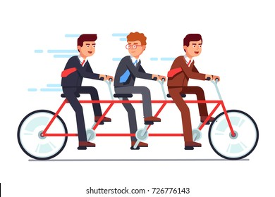 Business people group riding fast on three person tandem bicycle pushing pedals with good timing. Successful businessman collective teamwork and cooperation concept. Flat vector illustration isolated.