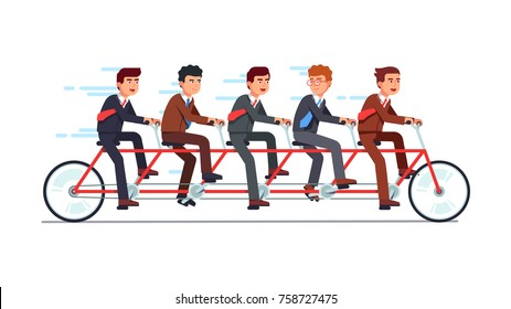 Business people group riding fast on five person tandem bicycle pushing pedals with good coordination. Successful businessman collective teamwork and cooperation concept. Flat vector illustration.