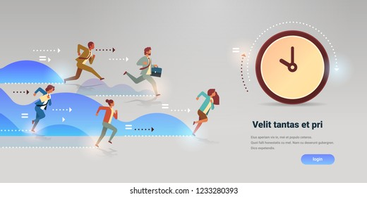 Business people group run to clock time management deadline team leader competition punctuality concept flat horizontal vector illustration