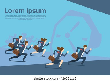 Business People Group Run Clock Businesspeople Time Concept Flat Vector Illustration