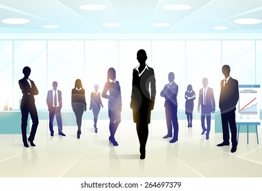 Business people group silhouette executives team in office vector illustration