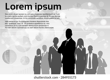 Business People Group Silhouette Executives Team with Copy Space Vector Illustration