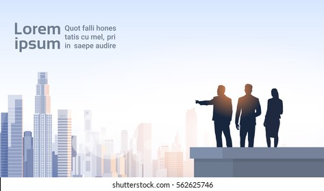 Business People Group Silhouettes On Office Building Roof Over City Landscape Vector Illustration