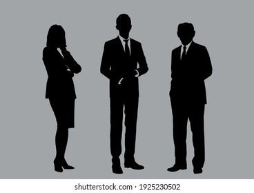 Business people group silhouettes pose on grey colour background, flat line vector and illustration.