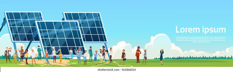 Business People Group Solar Energy Panel Renewable Station Presentation Flat Vector Illustration