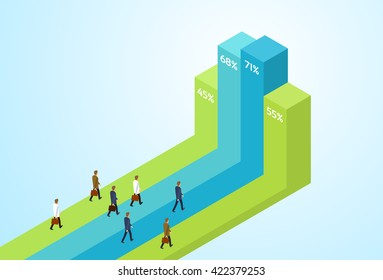 Business People Group Standing Financial Bar Growing Up Businesspeople Team Success Concept Growth Chart Isometric Vector Illustration