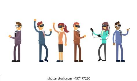 Business People Group Team Wear Virtual Reality Digital Glasses Headset Flat Vector Illustration