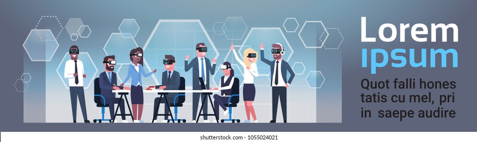Business People Group Wearing Vr Glasses During Brainstorming Meeting Virtual Reality Technology Concept Horizontal Banner With Copy Space