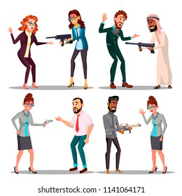 Business People With Gun Vector. Man, Woman. Pointing, Aiming. Sad, Desperate. Attempt, Terrorism. Isolated Flat Illustration