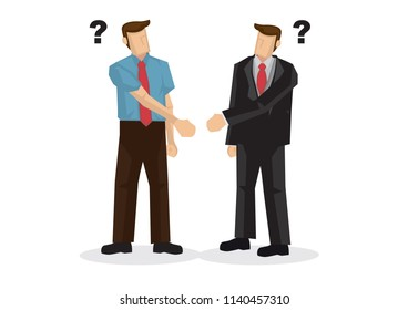 Business people hand shaking with different hands. Concept of misunderstanding, confused, doubt, uncertainty or miscommunication. Isolated vector illustration.