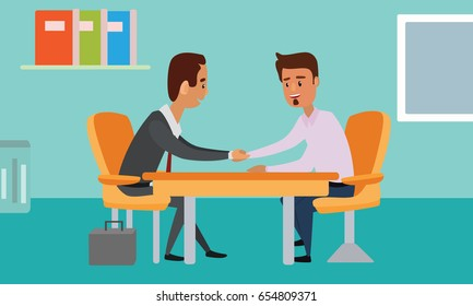 Business People handshake over a table. Talks at Table. Closed Deal. Successful Business Negotiations Flat Illustration Vector.