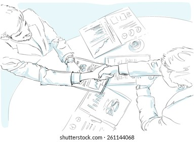 Business people handshake sketch desk with contract sign up documents top angle view vector illustration