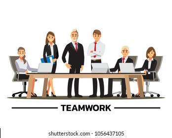 Business People Having Board Meeting,.Business concept cartoon illustration