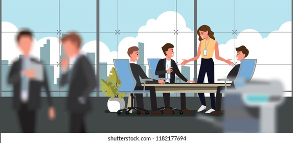 Business People Having Board Meeting,Vector illustration cartoon character background.