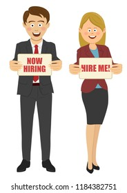 Business people holding boards with sign hiring me and now hiring