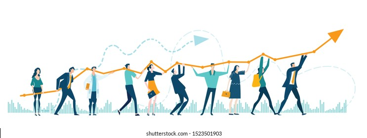 Business people holding growth arrow as a symbol working together, making a progress, successful way to move the business