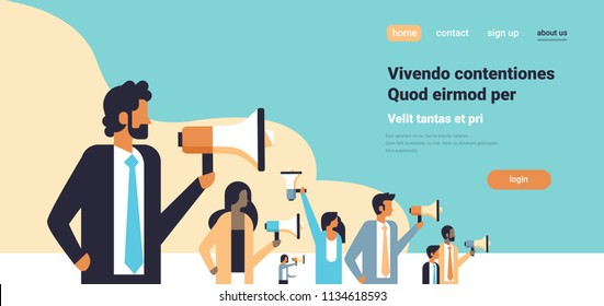 business people holding megaphone public protest social activist opposition demonstration strike speech concept horizontal flat copy space vector illustration