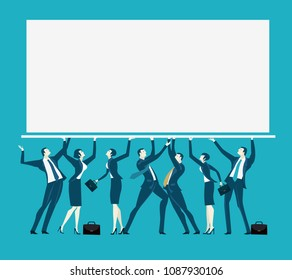Business people holding up the screen with space for text