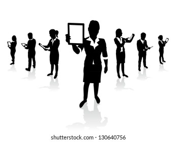 business people holding tablet screens