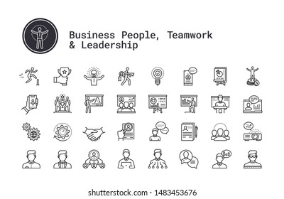 Business people, human resources, presentation, motivational speech thin line icons. Management, employee organization structure, team work, training seminar, conference pictogram for web, mobile app.