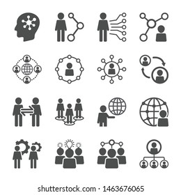 Business People Human Social Network icon set. Organization related