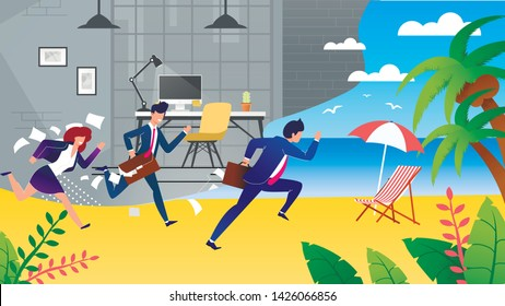 Business People Hurry on Vacation Metaphor Cartoon. Exhausted and Tired Female and Male Managers, Workers, Employees Time to Rest Run Fast from Office on Tropical Beach. Vector Flat Illustration