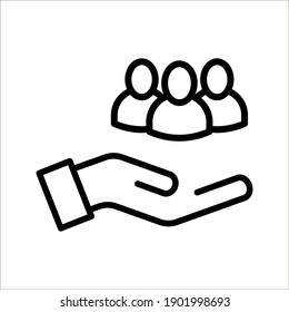 Business people icon, An inclusive workplace. Employee's Protection Filled Outline icon vector illustration on white background