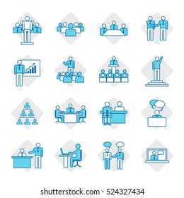 Business people icon set,vector illustration.Leadership training,meeting and corporate career.Modern linear pictogram concept.Outline color symbol collection.Simple material design for web and website