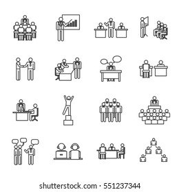 Business people icon set,vector illustration.Leadership training,meeting and corporate career.Modern linear pictogram concept.Outline symbol collection. Simple material design for web and website