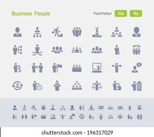 Business People Icons. Granite Icon Series. Simple glyph stile icons optimized for two sizes.