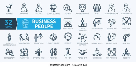 Business People Icons Pack. Thin line icons set. Flaticon collection set. Simple vector icons