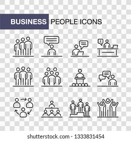 Business people icons set isolated simple line flat illustration.