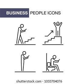 Business people icons set simple ui line flat illustration.