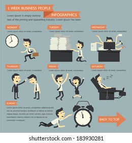 business people infographics, 1 week concept