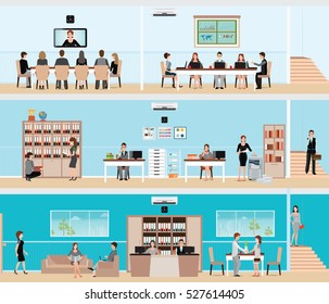 Business people in the interior of the building , meeting room or conference room , business flat design vector illustration.