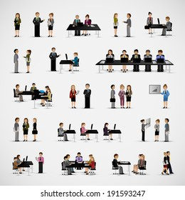 Business People - Isolated On Gray Background - Vector Illustration, Graphic Design Editable For Your Design
