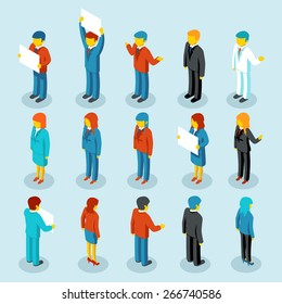 Business people isometric 3d vector figures. Set of woman and man. Vector illustration