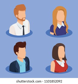 business people isometric avatars