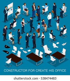 Business people isometric kit for creating your office with the men and women in corporate attire isolated on a dark blue background vector illustration.