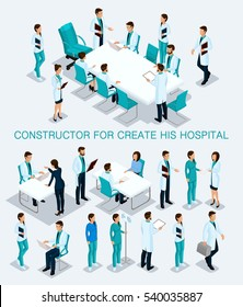 Business people isometric set to create his illustrations consultation in the hospital, doctors, nurses, surgeons 3D medical staff isolated on a light background.