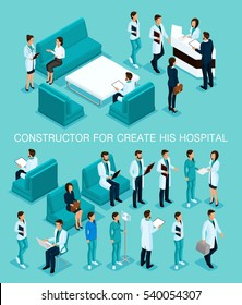 Business people isometric set to create his illustrations, hospitals, doctors, patients, reception, Nurse 3D medical staff isolated on a blue background.