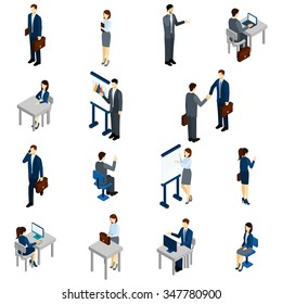 Business people isometric set with males and females in office suits isolated vector illustration