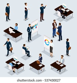 Business people isometric set of men and women in the office business suits isolated on a gray background. Vector illustration.