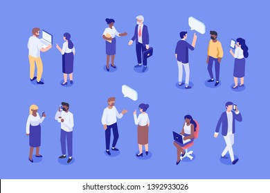 Business people isometric vector set. Join our team. Creative team characters. Discussion people. Team thinking and talking. Isometric vector characters.