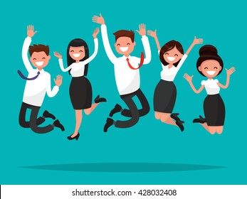 Business people jumping celebrating victory. Vector illustration of a flat design