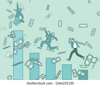 Business people are jumping on the graph. Money is flying in the air. hand drawn style vector design illustrations.