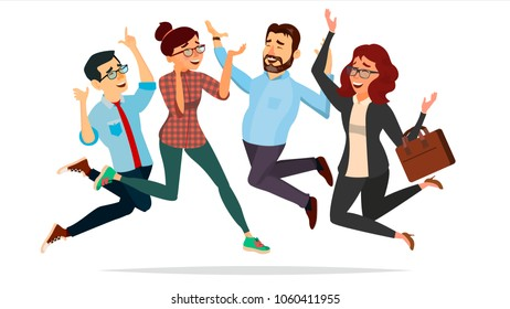 Business People Jumping Vector. Celebrating Victory Concept. Attainment. Objective Attainment, Achievement. Isolated Flat Cartoon Character Illustration