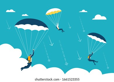 Business people landing down with parachutes. Stress, loosing opportunity, falling down, stock market fall concept illustration.
