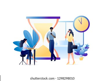 Business People with Laptops and Mobile Phones Hurry up to Complete Tasks with Clock and Hourglass. For web banner, website, flyer, card. Concept Vector Illustration