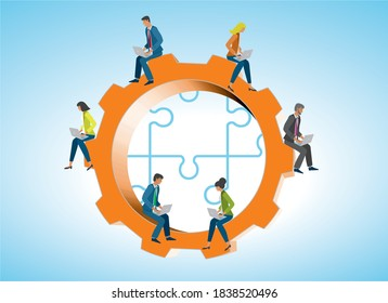 Business people with laptops on gear wheel. If you like its easy to change placement of the figures. Vector illustration.